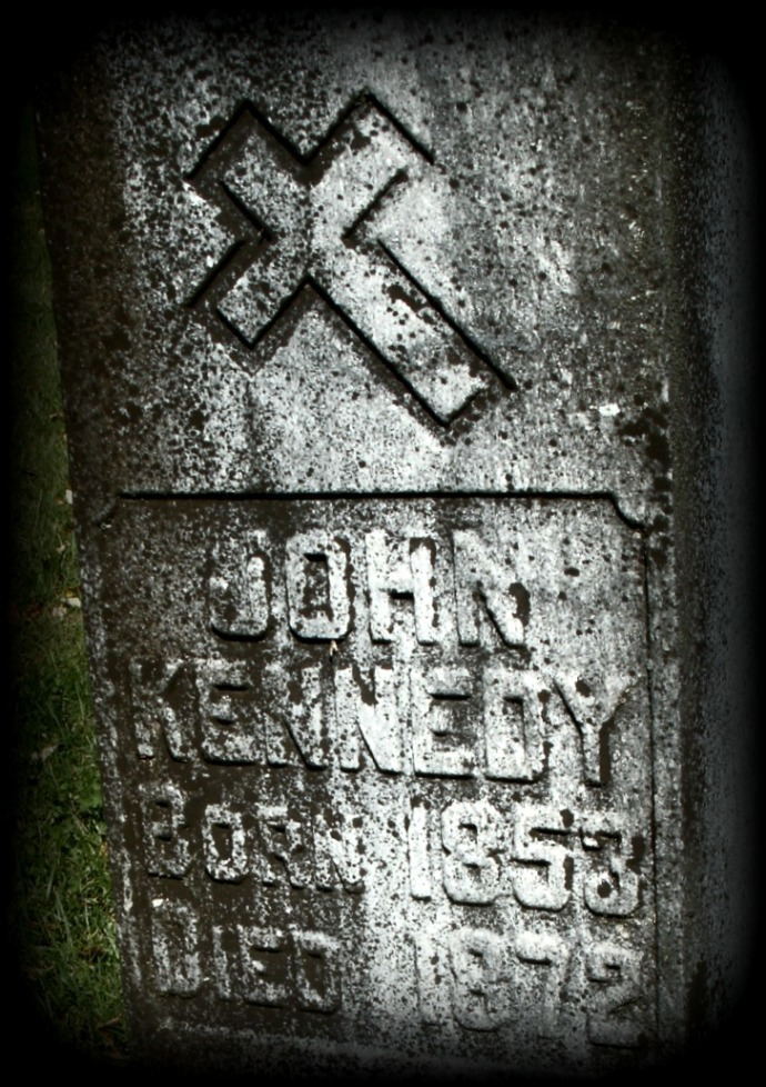 HD photo of inscription of Tombstone of John Kennedy St Bernard church, Weston, West Virginia