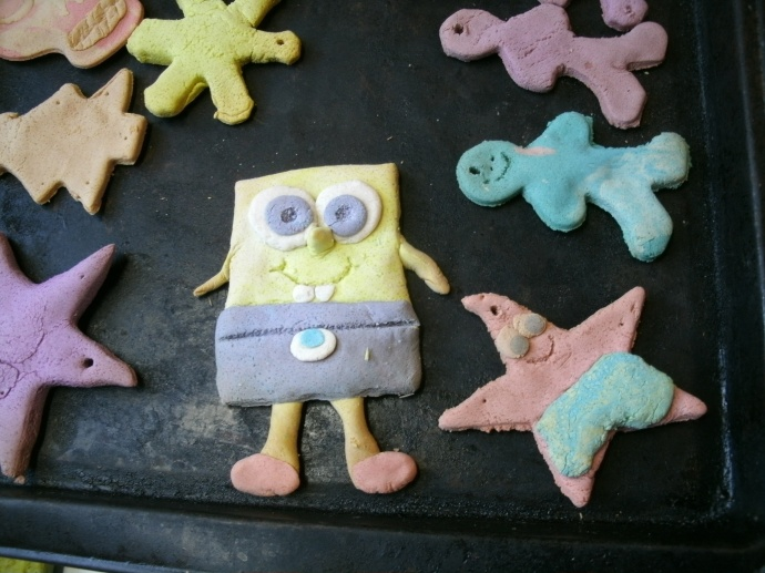 Sponge Bob and Patrick salt dough decorations