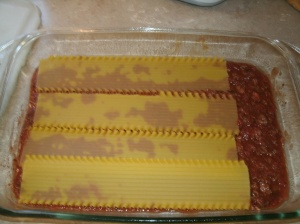 Venison marinara sauce with oven ready noodles