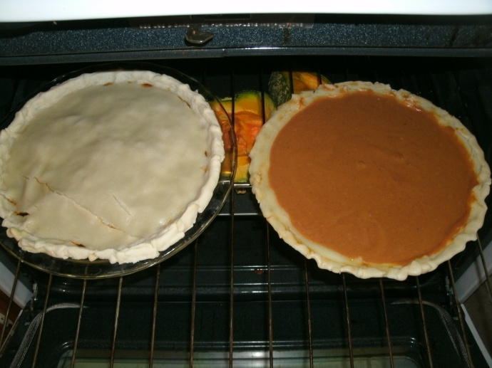 home made pies pumpkin and mock mincemeat