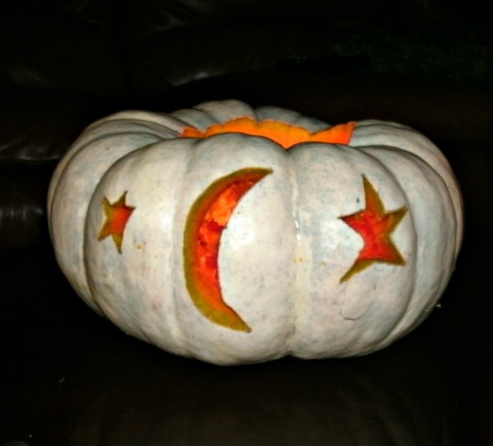Home grown white pumpkin carved for Halloween 2014