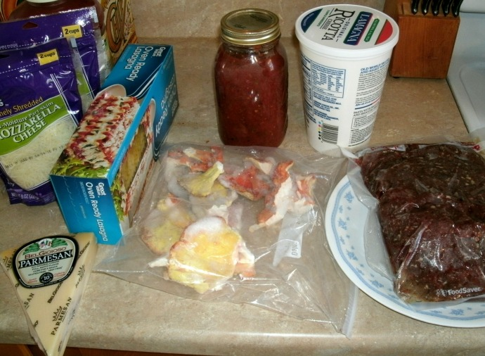 ingredients for Venison Lasagna