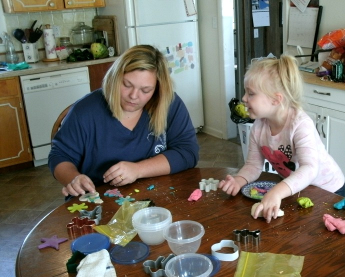 Jamie Powers and Paige Powers making Salt Dough decorations