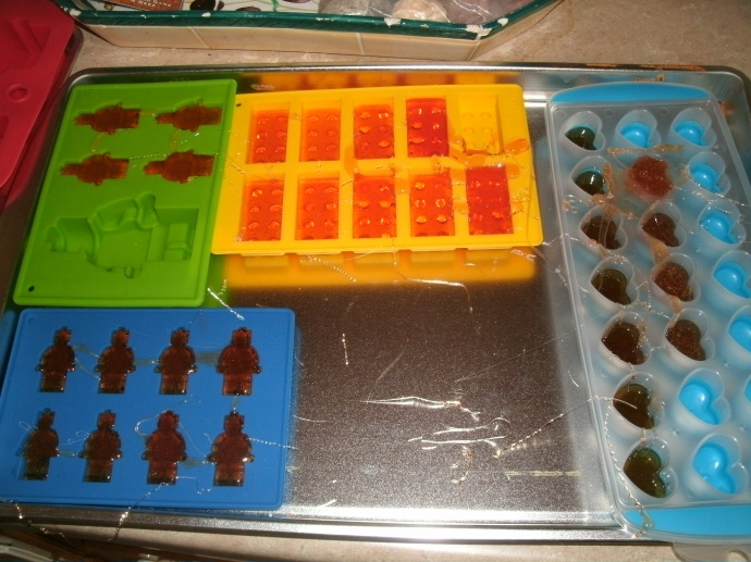 Lego silicone molds with hard candy cooling