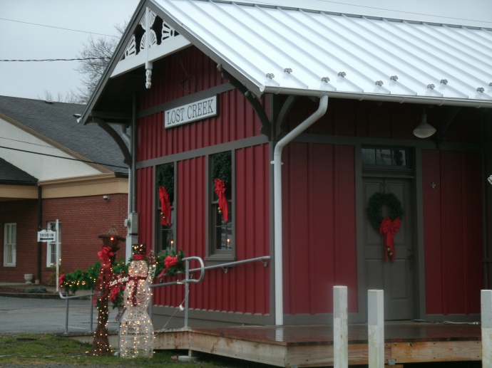street view of the Lost Creek Depot and snowman 2015