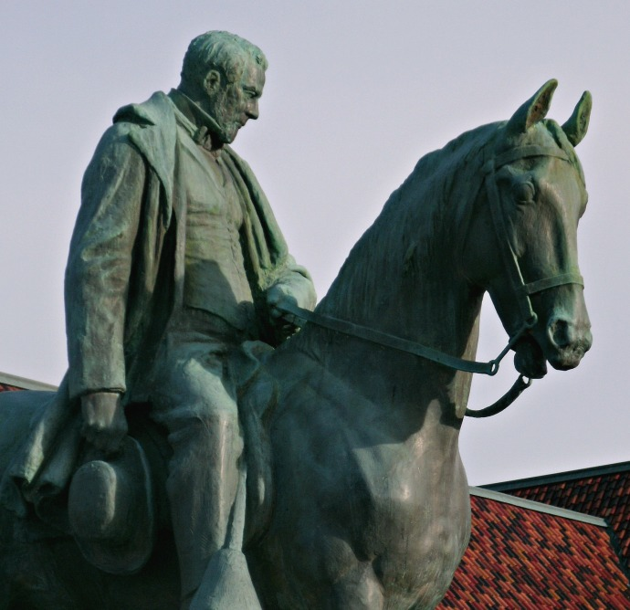 Henry Gassaway Davis mounted on his horse in Elkins, West Virginia