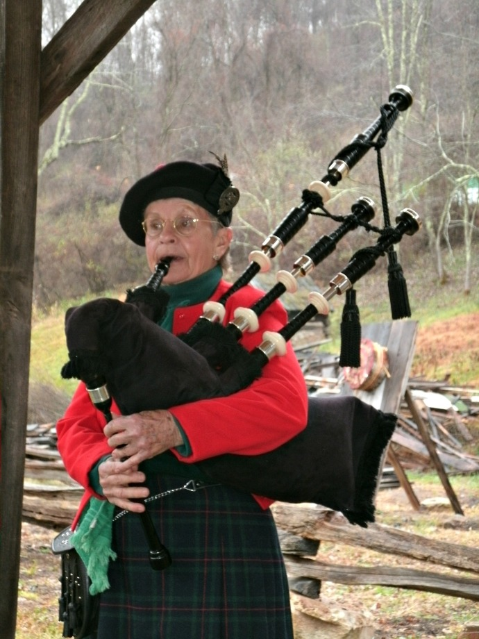 Bagpiper at the Christmas Fair of Fort New Salem