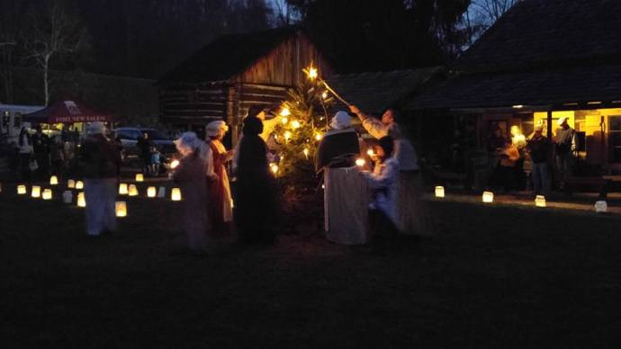 Tree lighting at Fort New Salem, Salem West Virginai... photo by Murphey
