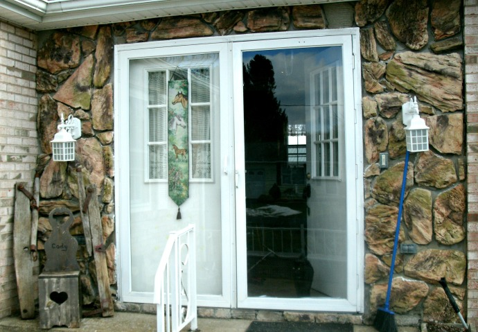 Front French doors with stone surround
