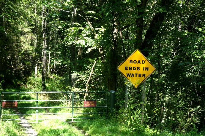 Sign at the top of a flooded road at Roanoke,WV