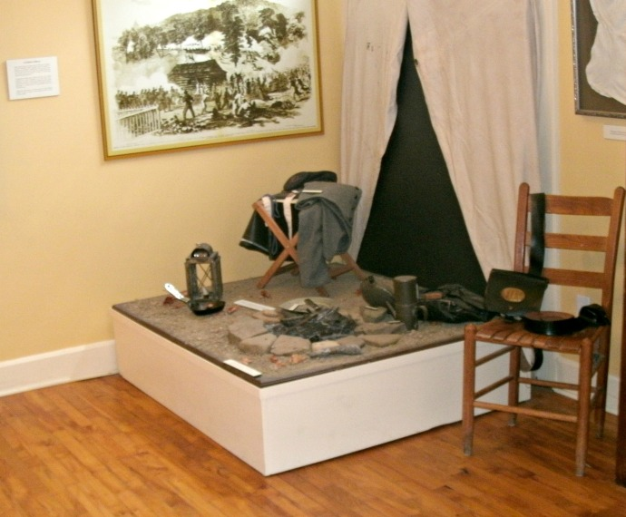 Civil war encampment display at the Beverly Heritage Center, Beverly WV.