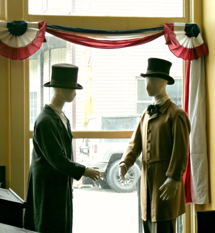 Mannequins about to shake hands in typical 1800s dress, Beverly Heritage Center.Beverly WV.