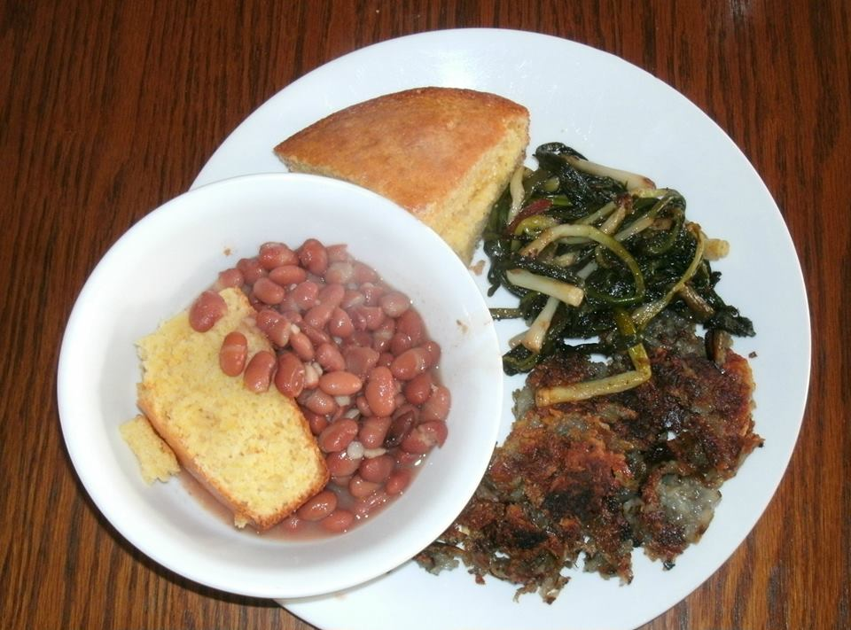 Ramps brown beans and fried potatoes cornbread