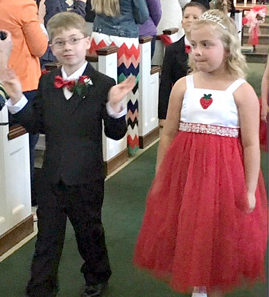 Christopher Power and Kaylee Hall leaving coronation of Strawberry Queen 2016