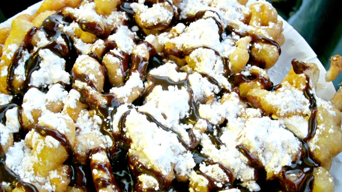 Chocolate drizzle funnel cake at the Strawberry Festival 2016