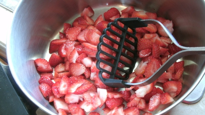 ready to crush 2 cups of strawberries at a time in dutch oven