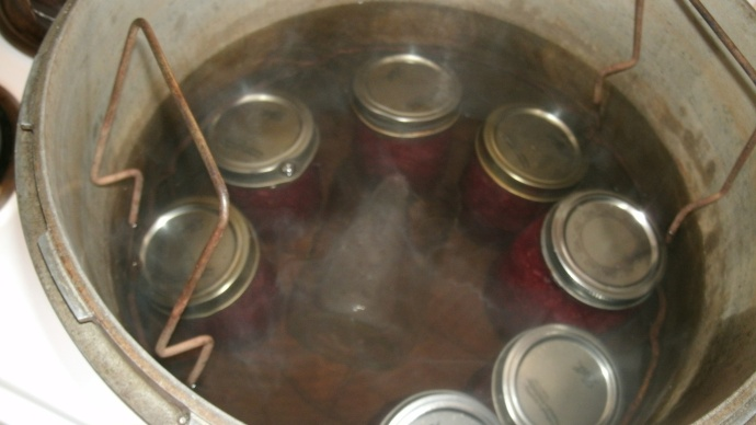 jars loaded into canner to process 10 minutes.. no pressure needed