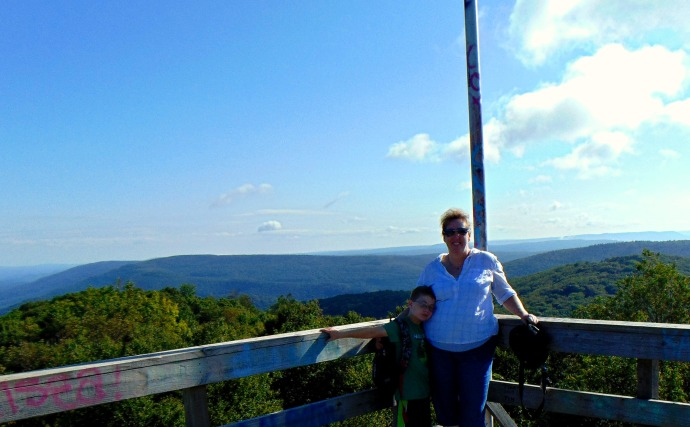 Christopher and JoLynn on top of Bickles Knob observation tower last days of summer 2016