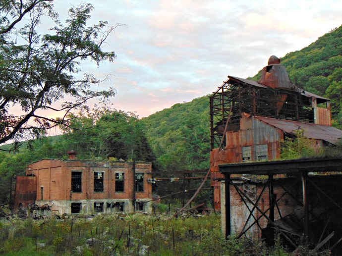 burned-out-sawmill-at-sunset