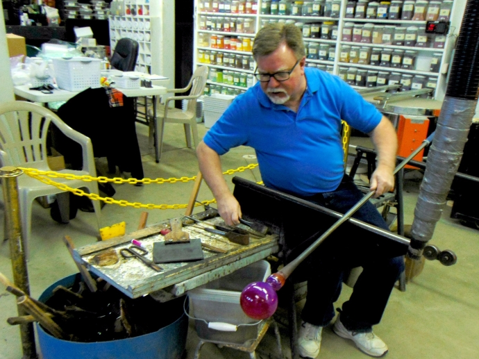 Ron Hinkel in his glass blowing studio 2-17-17