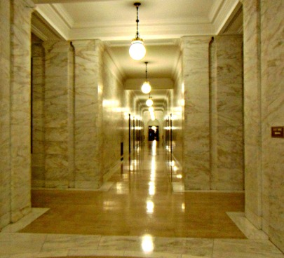 long marble east wing hall way at WV State Capitol