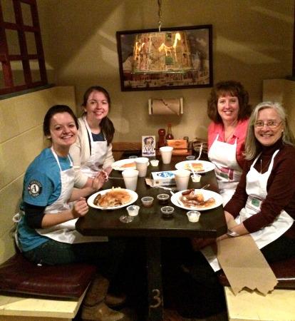 AmeriCorps service members Samatha Helman, Jennifer Goad, JoLynn Powers with Elkins Main Street Director Karen Carper
