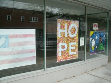 HOPE window sign in downtown White Sulphur Springs West Virginia