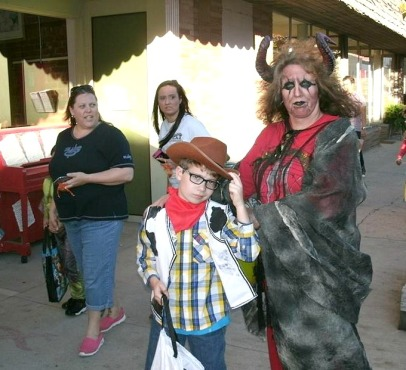 Christopher and Mom at the Downtown Trick or Treat halloween week 2017