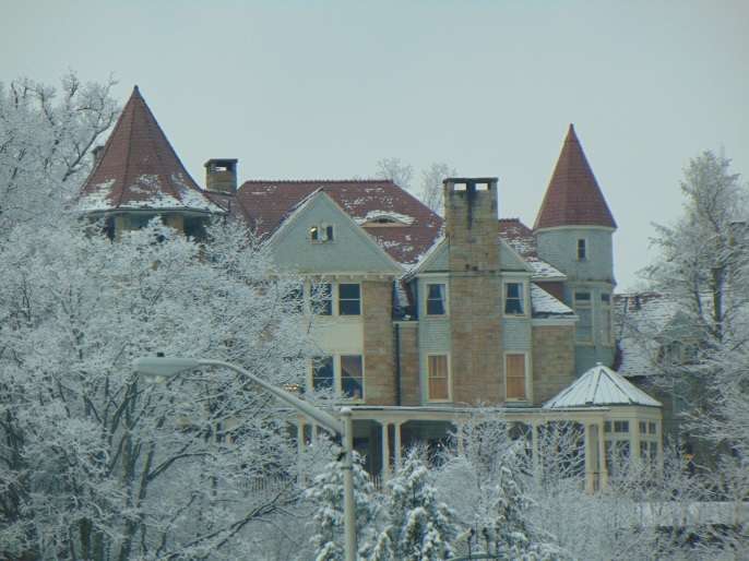 GraceLand Mansion on the hill above downtown Elkins in the snow 2016