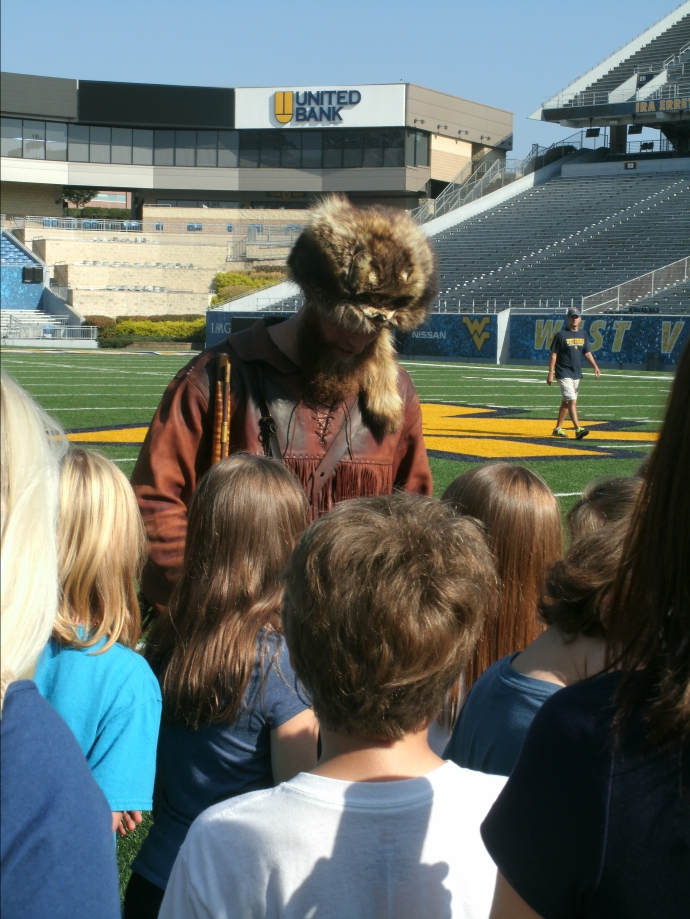 WVU college Mascot on Mountaineer feild Oct 2017