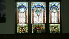 lower stain glass window at the United Methodist Church in Elkins WV