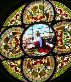 Rose window of United Methodist Church in Elkins WV