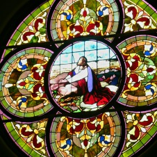 Rose window of United Methodist Church in Elkins WV