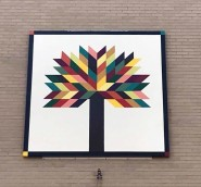 Tree of Life Quilt block pattern at Citizens Bank, Elkins ,WV