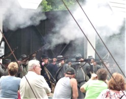 musket fire at the end of the bridge