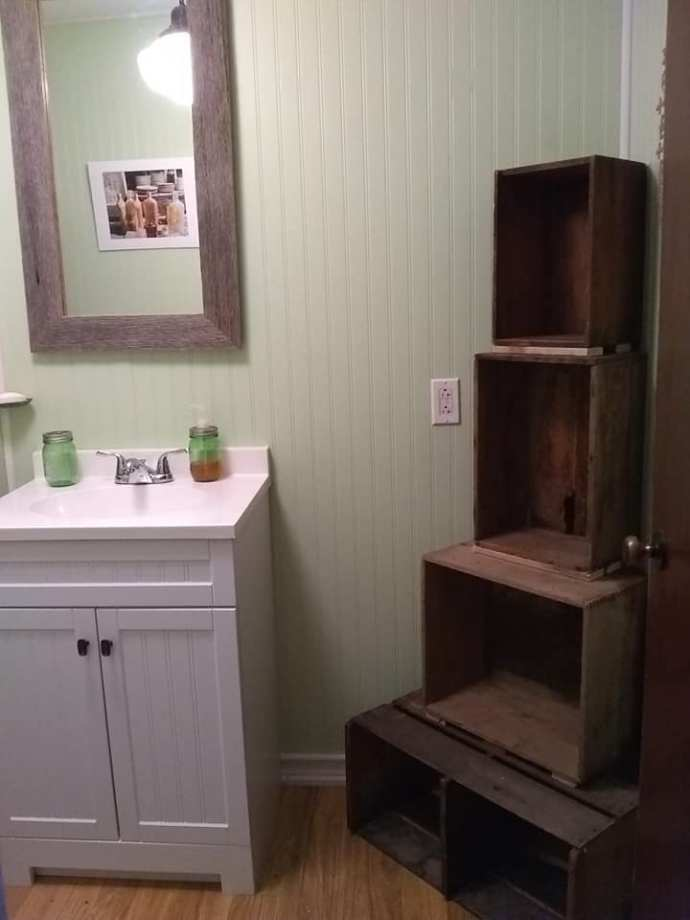 completed bathroom project crates