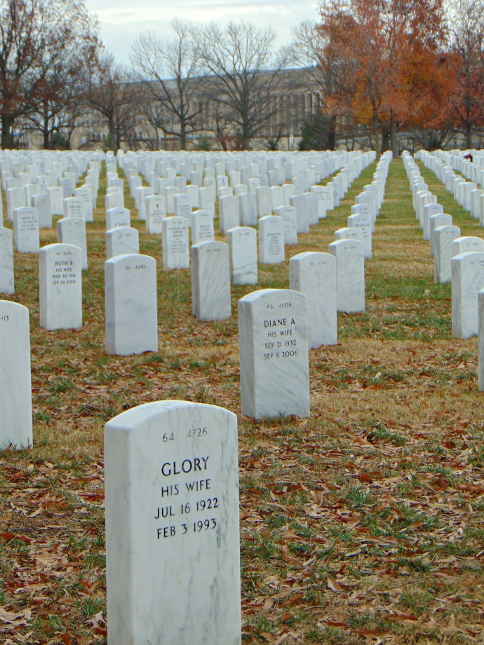 View of Pentagon from Arlington National Cemetery and the headstone Glory