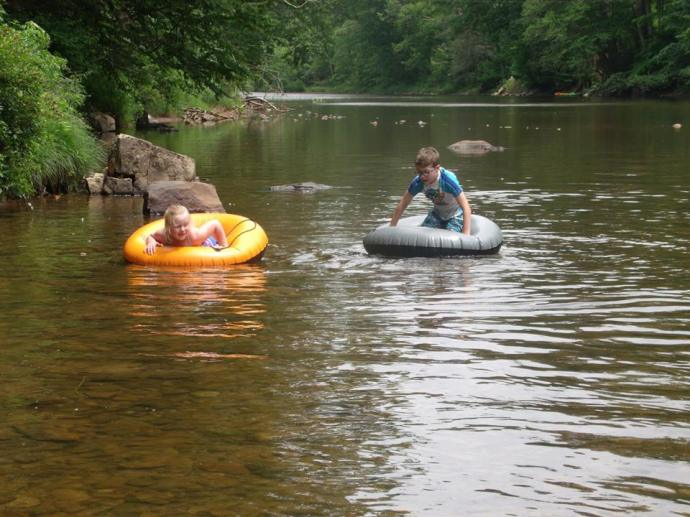 Christopher and Paige float down the Shavers Fork river near Elkins