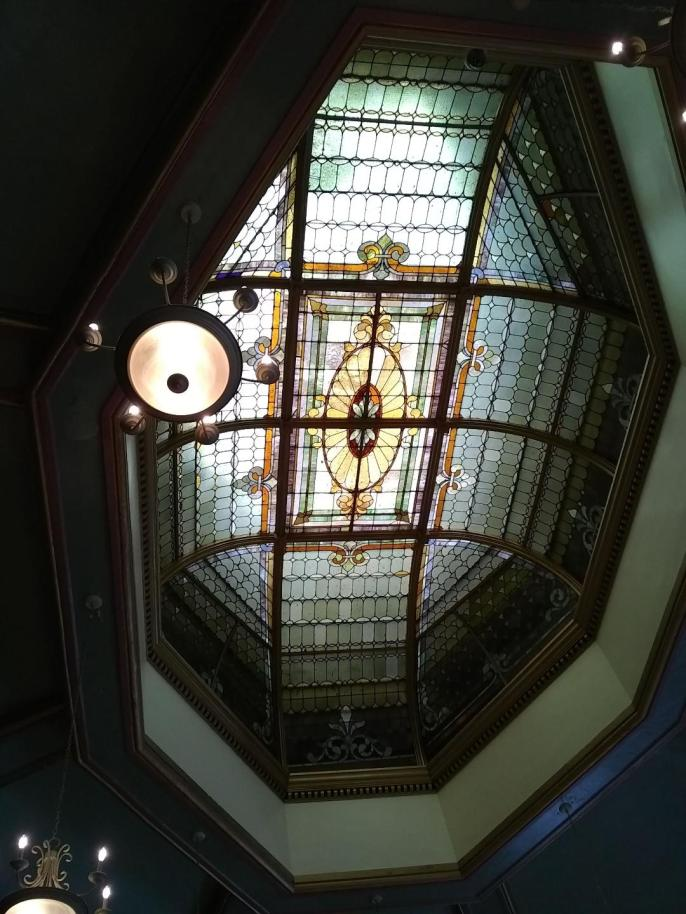 Stained glass in ceiling of the Barbour County Court House