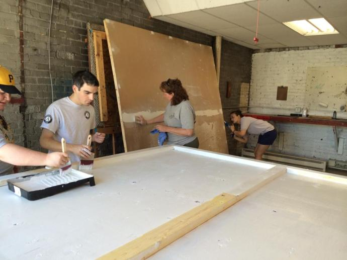 frist day of Americrops working on Heritage Quilt Block Panels
