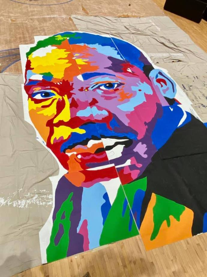 image of MLK mural being put together