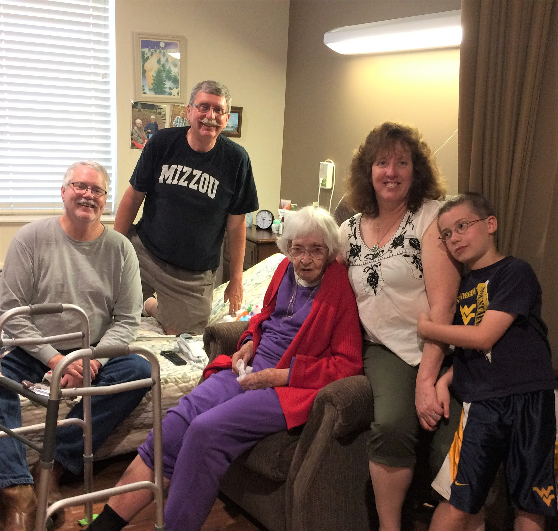Veda Lowrey with children Vernon, Bill and Jolynn with grandson Christopher june2017